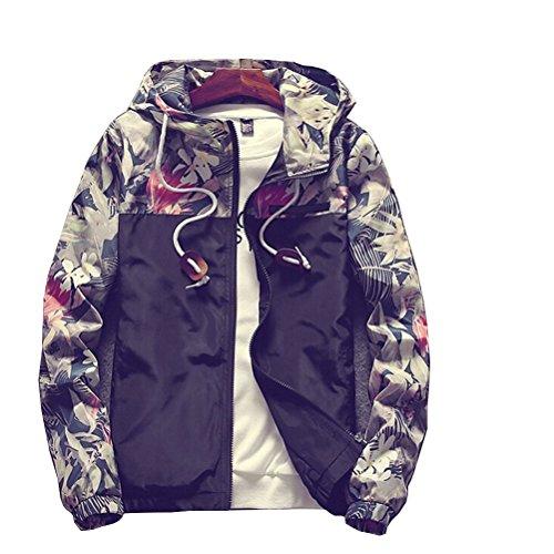 Banana Bucket Floral Bomber Jacket Men Hip Hop Slim Fit Flowers Bomber Jacket Coat Men's Hooded Jackets(US S) Label Size XL Black
