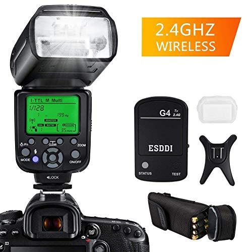 Camera Flash for Nikon,DSLR Camera,I-TTL 1/8000 HSS GN58,Multi,ESDDI Wireless Camera Flash Set Include 2.4G Wireless Flash Trigger,Cold Shoe Base Bracket and Accessories