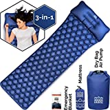 HKNG Ultralight Sleeping Pad with Pillow - for Backpacking, Portable Lightweight Waterproof Survival Outdoor Camping Travel 75D Rip Stop Polyester. 3-in-1 Roll Top Air Pump and Dry Bag (Blue)