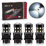 BRISHINE 4-Pack 1000 Lumens Super Bright 3157 3156 3057 3056 3157K LED Bulbs 6000K Xenon White 24-SMD LED Chipsets with Projector for Backup Reverse Lights, Parking Lights, Daytime Running Lights
