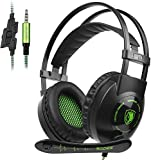 SADES SA801 3.5mm Surround Sound Stereo PC Gaming Headset Headband Gaming Headphones with Microphone Over-the-Ear Volume control Noise Isolation for New Xbox One PC Mac Tablets PS4 Laptop Phone(Green)