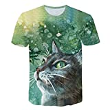 JJLIKER Mens 3D Cat Print Short Sleeve T-Shirt Crewneck Tops Funny Graphic Printed Tees Casual Sport Large Size S-5XL Green