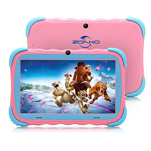 """ZONKO Kids Tablet,7"""" HD Display with Kid-Proof Case(Pink)"""
