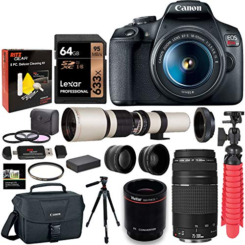 Canon-T7-DSLR-Camera-Two-Lens-Kit-Bundle-with-Vivitar-650-1300mm-Lens-Canon-75-300mm-III-Lexar-64GB-U3-Memory-Card-and-Accessories