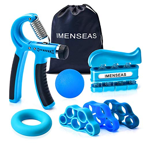 IMENSEAS Hand Grip Strengthener 7 Pack Adjustable Hand Gripper, Finger Stretcher Resistance Extensor Bands, Finger Exerciser, Grip Strength Ring & Stress Relief Ball for Athletes and Musicians