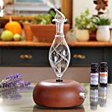Aromatherapy Diffuser - Professional Grade - Wood and Glass (Orbis Nox Vitis), Premium, Essential Oil Diffuser, Nebulizer, Nebulizing Machine, Waterless
