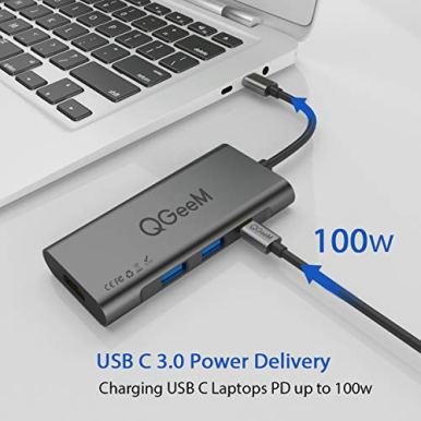 USB-C-Hub-HDMI-AdapterQGeeM-7-in-1-Type-C-Hub-to-HDMI-4k3-USB-30-Ports100W-Power-DeliverySDTF-Card-Readers-Compatible-with-MacBook-Pro-1315Thunderbolt-32018-Mac-AirChromebook-USB-C-Adapter