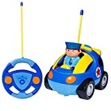 SGILE RC Cartoon Car Toy for Kids Birthday Gift Present, Remote Control with Light Music Radio for Toddlers Baby Kids Child, Blue