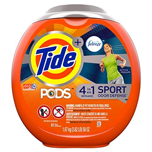 Tide PODS Laundry Detergent Liquid Pacs Plus Febreze Sport Odor Defense, Active Fresh Scent,  4 in 1 HE Turbo, 61 Count Tub (Packaging May Vary)