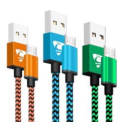 Micro USB Cables 2m/6.6ft Aione Android Cable (3 Pack) Nylon Braided USB Cable- Compatible with Samsung, Nexus, LG, Sony, HTC, PS4 Controller and More-Blue, Green, Orange