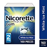 Nicorette Nicotine Gum to Quit Smoking, 2 mg, White Ice Mint Flavored Stop Smoking Aid, 160 Count