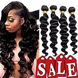 Brazilian Virgin Human Hair Loose Wave Bundles 8A 100% Unprocessed Remy Brazilian Human Hair Weave Natural Black(12 14 16 18)