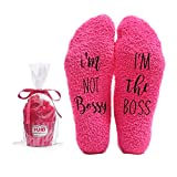 I'm not Bossy, I'm the Boss Funny Socks - Cool Pink Fuzzy Novelty Cupcake Packaging for Her - Gift Idea for Mom, Wife, Sister, Friend, Aunt or Grandma - Birthday, Christmas, Anniversary - 1 Pair