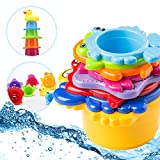 Toddler Bath Stacking Cups Best for Baby and Kids, Rainbow Caterpillar Train Nesting Water Toys for Travel, Plane and Outside Play 8 Pack w/ Rubber Duckie, Montessori Stackable Under The Sea Animals