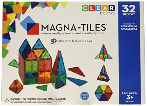 Magna-Tiles 32-Piece Clear Colors Set – The Original, Award-Winning Magnetic Building Tiles – Creativity and Educational – STEM Approved