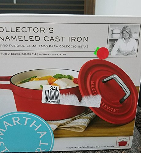 Martha Stewart Collection Collector's STRAWBERRY Enameled Cast Iron 6 Qt. Round Casserole Dutch Oven