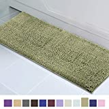 ITSOFT Non-Slip Shaggy Chenille Soft Microfibers Bathroom Rug with Water Absorbent, Machine Washable, 21 x 59 Inch Sage Green