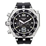 Mulco Buzo Helio Quartz Swiss Chronograph Movement Men's Watch | Premium Analog Display with Steel Accents | Silicone Watch Band | Water Resistant Stainless Steel Watch | Black Ion-Plated (Black)