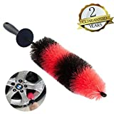 18 Inch Reaching Deep Wheels Brush Tire Brushes,Semi-Soft Bristle Cleaning Spoke Rims Brushes,No Scratches Wheel Cleaner Detailing Brushes for Car Wash Brush,Motorcycle,Bike--ClawsCover