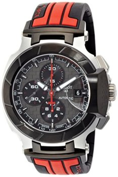 Tissot Men's T-Race Stainless Steel Swiss-Automatic Watch with Rubber Strap, Multi, 21 (Model: T0484272706100)
