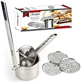 Premium 3-Disc Stainless Steel Potato Ricer & Masher for Creamy, Smooth Mashed Potatoes by Acutos