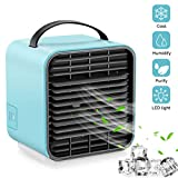 VRZTLAI Portable Air Conditioner Fan, Personal Space Air Cooler Mini USB Rechargeable Desk Fan Small Evaporative Cooler Purifier Humidifier with Handle & Night Light for Office Home Outdoors, Blue