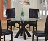 Dining Table with Round Glass Top in Rich Cappuccino - Coaster