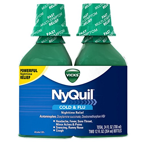 Vick NyQuil Cough Cold and Flu Nighttime Relief, Original Liquid, 2x12...