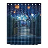 LB Fall Decorations Thanksgiving Shower Curtain Set, Halloween Pumpkin Decor Bath Curtain 60x72 inch Waterproof Polyester Fabric Bathroom Curtains with Hooks