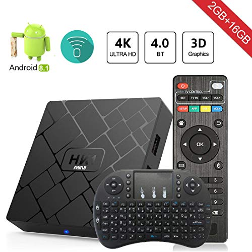 Android 8.1 TV Box Aumkoo HK1 Mini Quad core 64 Bit 2GB RAM+16GB ROM 4K Smart TV Box H.265 Decoding 2.4GHz WiFi - 2G/16G
