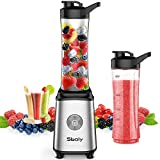 Personal Blender, Sboly Single Serve Blender for Smoothies and Shakes, Small Juice Blender with 2 Tritan BPA-Free 20Oz Blender Cups and Cleaning Brush, 300W