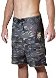 Maui Rippers Men's Camo Board Shorts - The Octopus | Quick Dry Triple Stitch Swim Trunks (38, Black/Green)