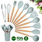 CORAFEI Silicone Cooking Kitchen 11 PCS Acacia Wooden Utensils Tool for Nonstick Cookware,BPA Free, Non Toxic Turner Tongs Spatula Spoon Set with Holder