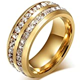Mens Womens 8MM Titanium Stainless Steel High Polished 18K Gold Plated Channel Set Cubic Zirconia CZ Promise Engagement Band Unisex Gold Wedding Ring Comfort Fit, Size 7