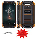 PoptelUSA 5.5' Rugged P9000 MAX, 4GB+64GB, IP68 Waterproof Shockproof Dustproof, 9000mAh Battery NFC Fingerprint Identification, Android 7.0, Network,Unlocked 4G, Dual SIM (Orange)