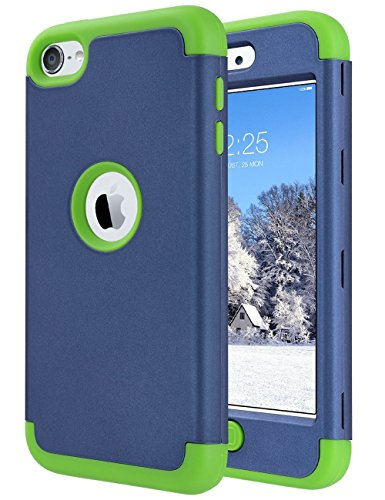 ULAK iPod Touch case,iPod Touch 5 6th Generation Case, Heavy Duty Shockproof High Impact Knox Armor Protective Case Cover for Boys (Navy Blue+Green)
