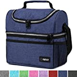 Thermal Insulated Dual Compartment Lunch Bag for Men, Women | Double Deck Reusable Lunch Box with Shoulder Strap, Leakproof Liner | Medium Lunch Box for School, Work, Office (Heather Navy)