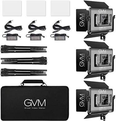 RGB-LED-Video-Light-GVM-45W-Photography-Lighting-with-Bluetooth-Control-Full-Color-Video-Lighting-Kit-for-YouTube-Studio-3Packs-Led-Panel-Light-736pcs-Led-Beads-3200K-5600K-8Applicable-Scenes