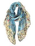 GERINLY Scarfs for Women Spring Lightweight Floral Birds Print Dress Shawl (Light Blue)