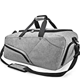 Gym Bag Sports Duffle Bag with Shoes Compartment Waterproof Large Travel Duffel Bags Weekender Overnight Bag for Men Women 45L Grey