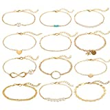 Softones 12pcs Simple Silver Gold Bracelets for Women Girls Cute Pearl Bracelet Tiny Charm Dainty Handmade Bracelet Set Adjustable