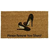 "Rubber-Cal ""Welcome & Please Remove Your Shoes Decorative Welcome Mats, 18 x 30-Inch"