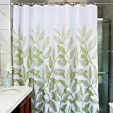MangGou Leaves Fabric Shower Curtain, Waterproof Polyester Bathroom Curtain,Decorative Shower Curtain Liner with 12 Hooks,Mildew Resistant,Machine Washable,72 x 72 inch,Green