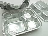 Disposable Aluminum 4 Compartment T.V Dinner Trays with Board Lid by Handi-Foil #4145L (10)