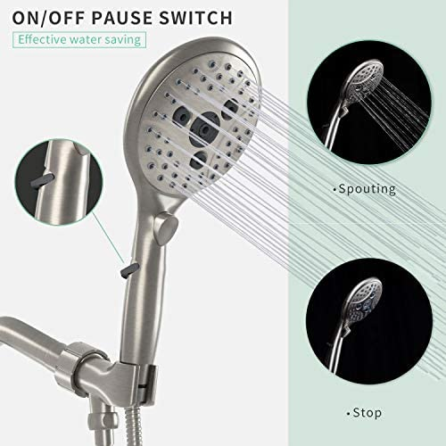 Suncleanse Shower Head, 7 Settings Hand held Shower with ON/OFF Pause Switch, Brushed Nickel High Pressure Shower Head with 71 inch Hose 18