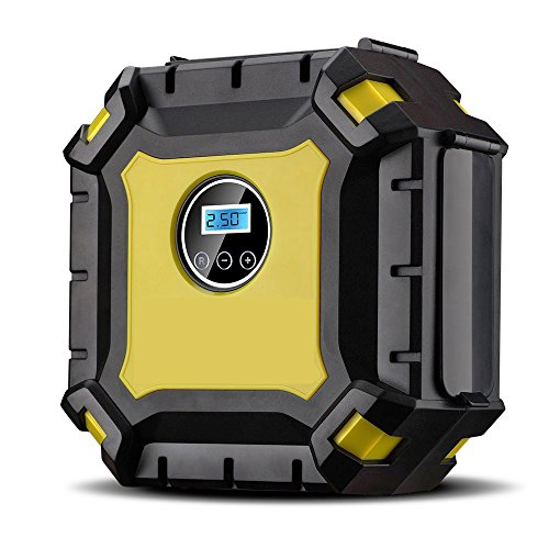 Portable Air Compressor Pump, Auto Digital Tire Inflator with Gauge, 12V 100PSI Auto Air Compressor Preset Pressure Shut Off with LED Light for Car, Truck, Bicycle, Basketballs and Other Inflatables