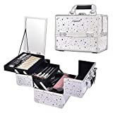 Joligrace Makeup Box Cosmetic Train Case Jewelry Organizer Lockable with Keys and Mirror 2-Tier Tray Portable Carrying with Handle Travel Storage White Star