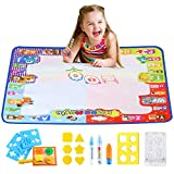 Aqua Magic Doodle Mat Large Educational Water Drawing Mat for Kids Toy Toddler Painting Board with 2 Magic Pens, 1 Magic Brush, and Drawing Accessories for Boys Girls Size 30.3'' x 30.3''