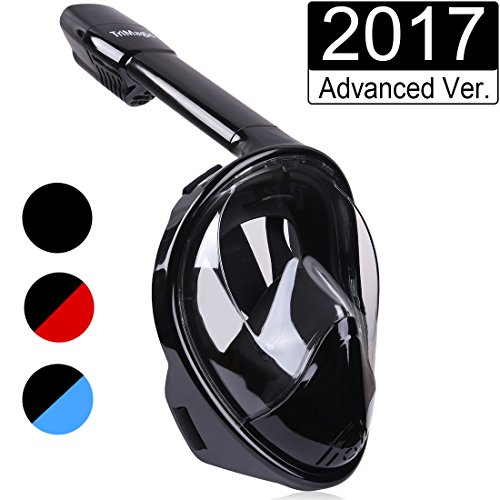 Snorkel Mask, TriMagic 180° Panoramic Full Face Design with Larger Viewing Area - Easier Breathing and GoPro Compatible with Anti-Fog and Anti-Leak, for Both Kids and Adult (2017 Advanced Version)