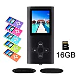 RHDTShop MP3 MP4 Player with a 16 GB Micro SD Card, Support UP to 64GB TF Card, Rechargeable Battery, Portable Digital Music Player/Video/E-Book Reader, Ultra Slim 1.7' LCD Screen-Black+White